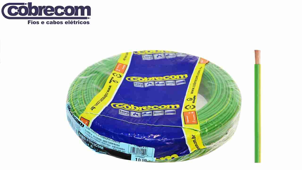 CABO FLEXÍVEL COBRECOM 1.5MM² AMARELO 450/750V ROLO C/100M