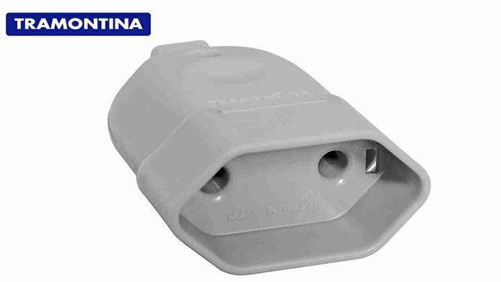 PINO TRAMONTINA FEMEA 2P 10A/250V CINZA