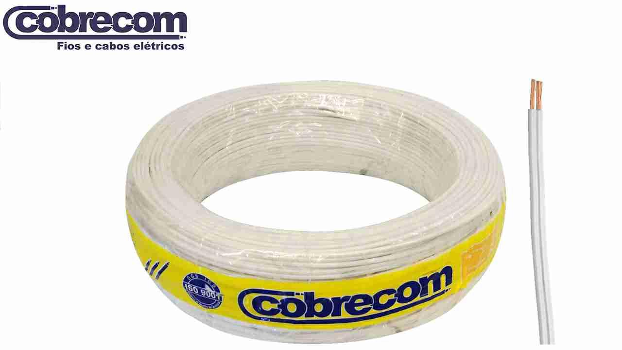 CORDÃO COBRECOM PARALELO 2X1.00MM² BRANCO ROLO C/100M