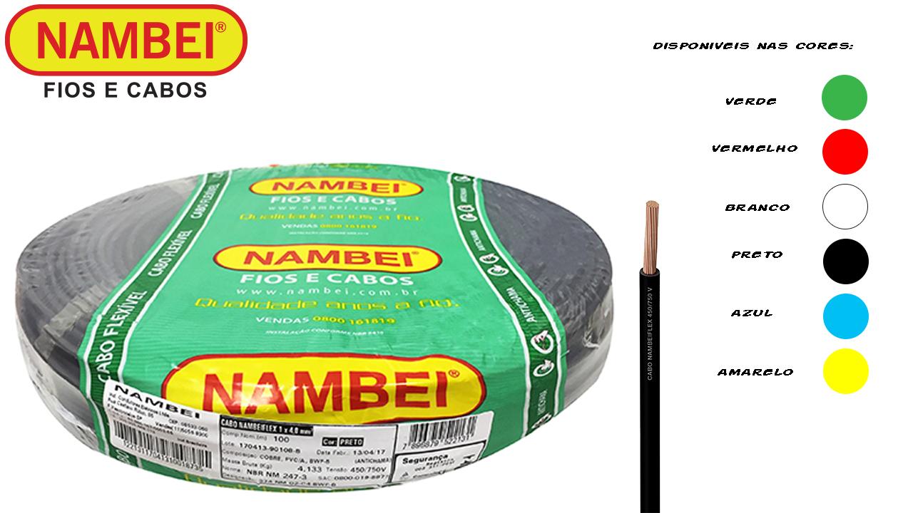 CABO FLEXÍVEL NAMBEIFLEX 4MM² PRETO 450/750V ROLO C/100M