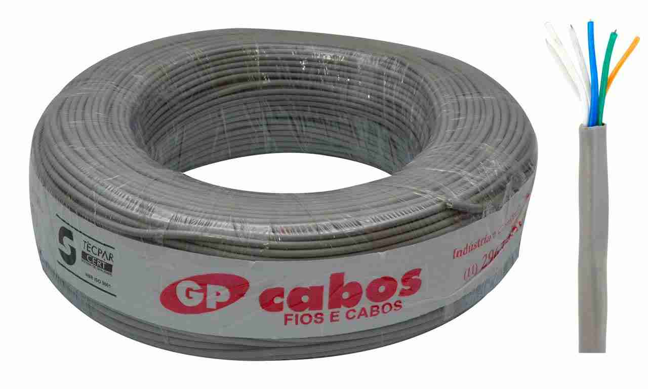 CABO PARA TELEFONE CCI GP CABOS 02 PARES CINZA ROLO C/200M