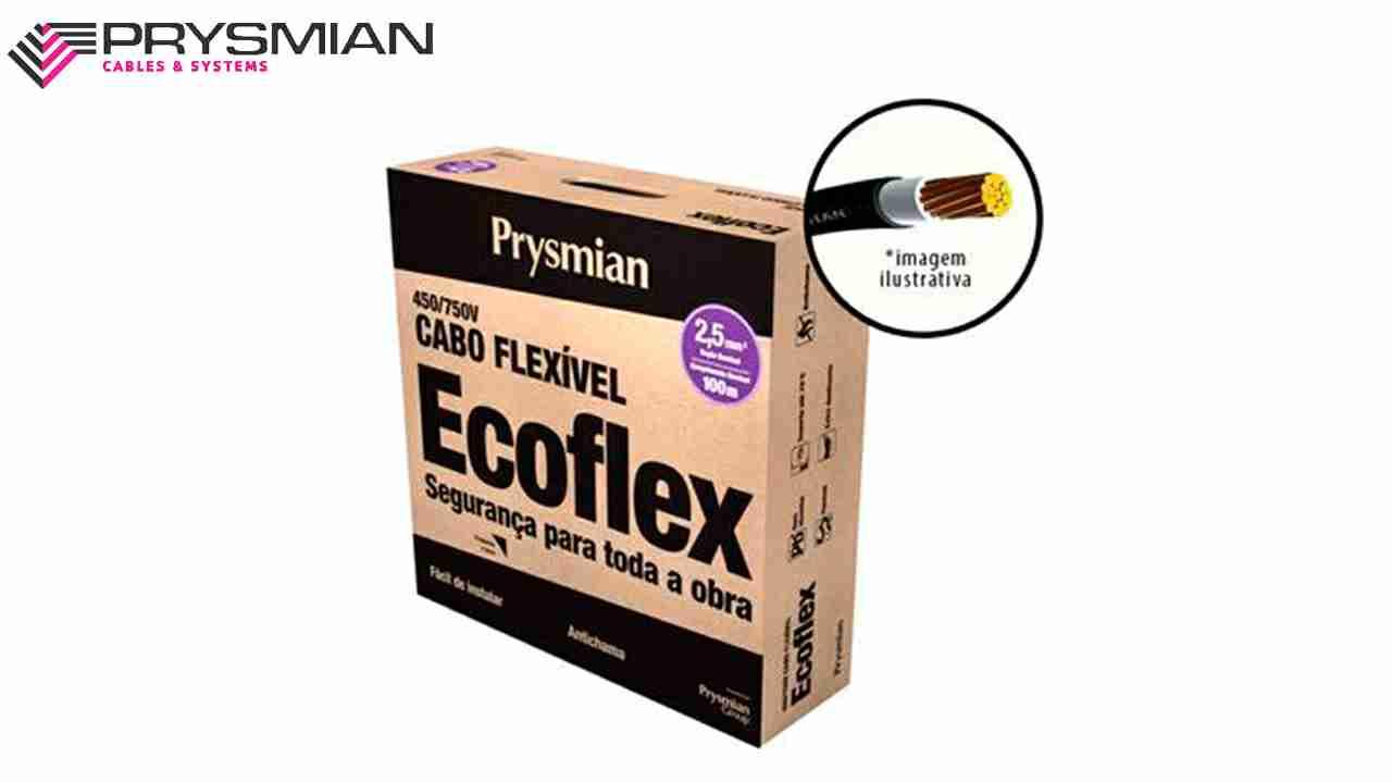 CABO ECOFLEX PRYSMIAN 1.5MM² PRETO 450/750V ROLO C/100M
