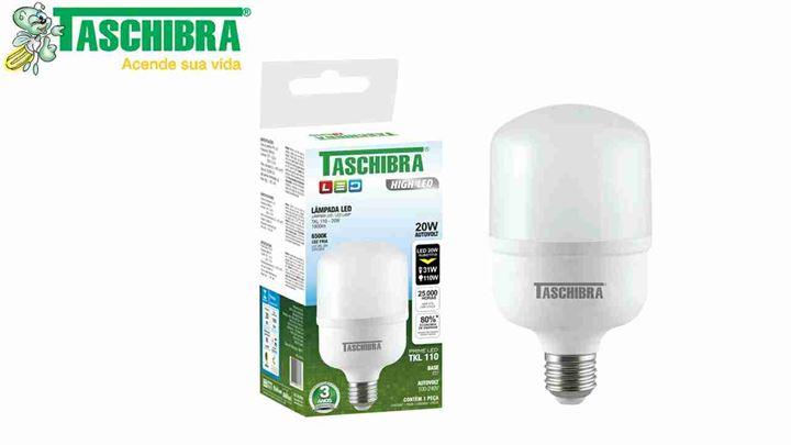 LÂMPADA TASCHIBRA LED HIG POWER LUZ FRIA 20W E27 1600 LUMENS BIVOLT