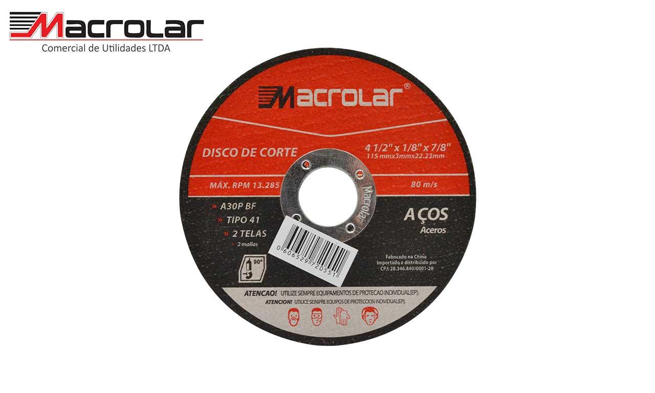DISCO CORTE MACROLAR AÇO 4.1/2X1/8X7/8