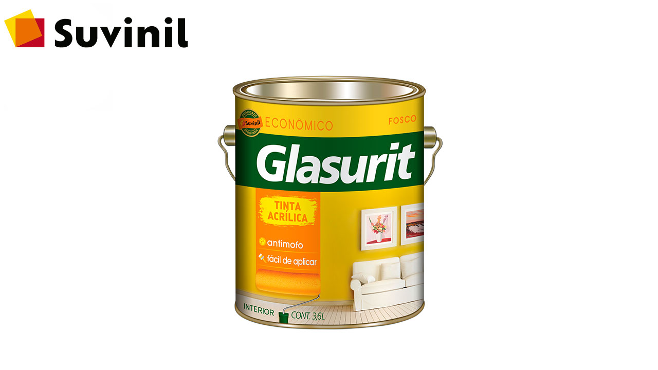 TINTA GLASURIT ACRÍLICA ECONÔMICO FOSCO GL3,6L BRANCO NEVE