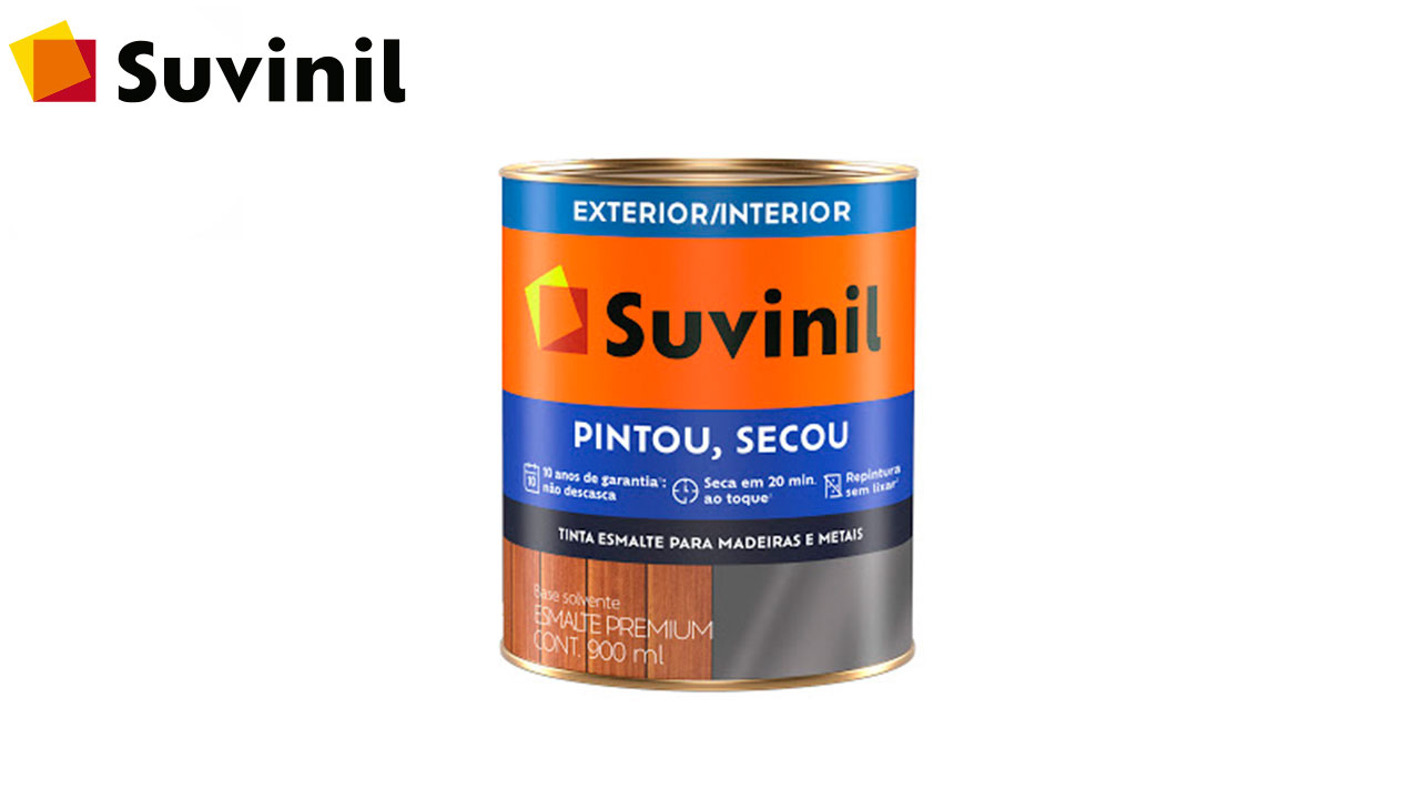 ESMALTE SINTÉTICO BRILHANTE SUVINIL PINTOU SECOU LT900ML AMARELO OURO