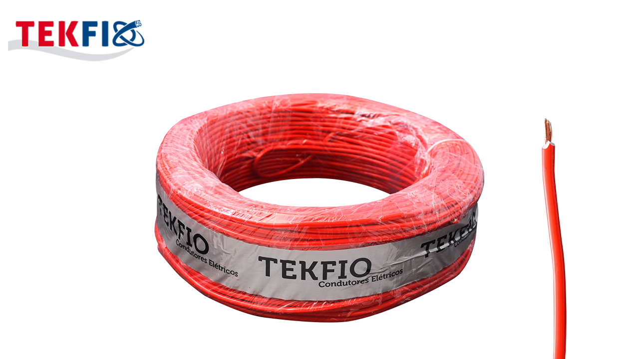 CABO FLEXÍVEL TEKFIO FLEX.6MM² VERMELHO 450/750V ROLO C/100M