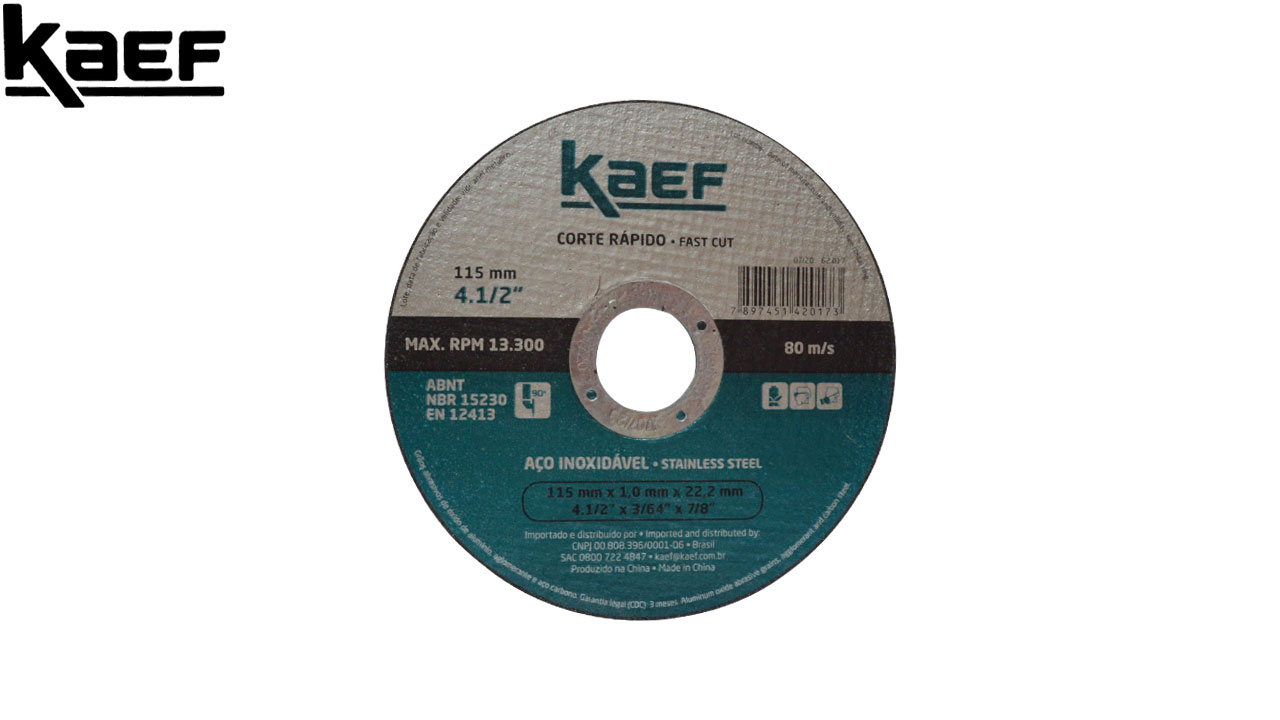 DISCO CORTE KAEF INOX 115MM 4.1/2X3/64