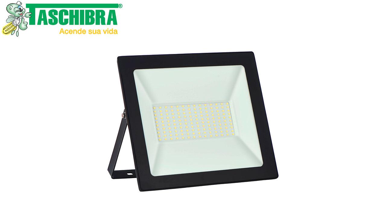 REFLETOR LED TASCHIBRA LUZ FRIA 6500K 100W BIVOLT 8500 LÚMENS DIMENSÕES A21.3 X C25.5