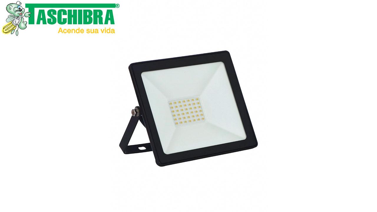 REFLETOR LED SLIM TASCHIBRA LUZ FRIA 6500K 30W BIVOLT 2700 LÚMENS DIMENSÕES A13.4 X C15.3