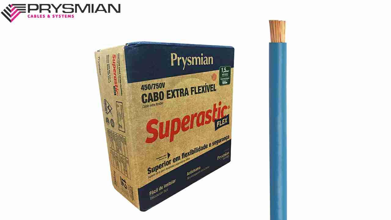 CABO FLEXÍVEL SUPERASTIC 1.5MM² AZUL 450/750V ROLO C/100