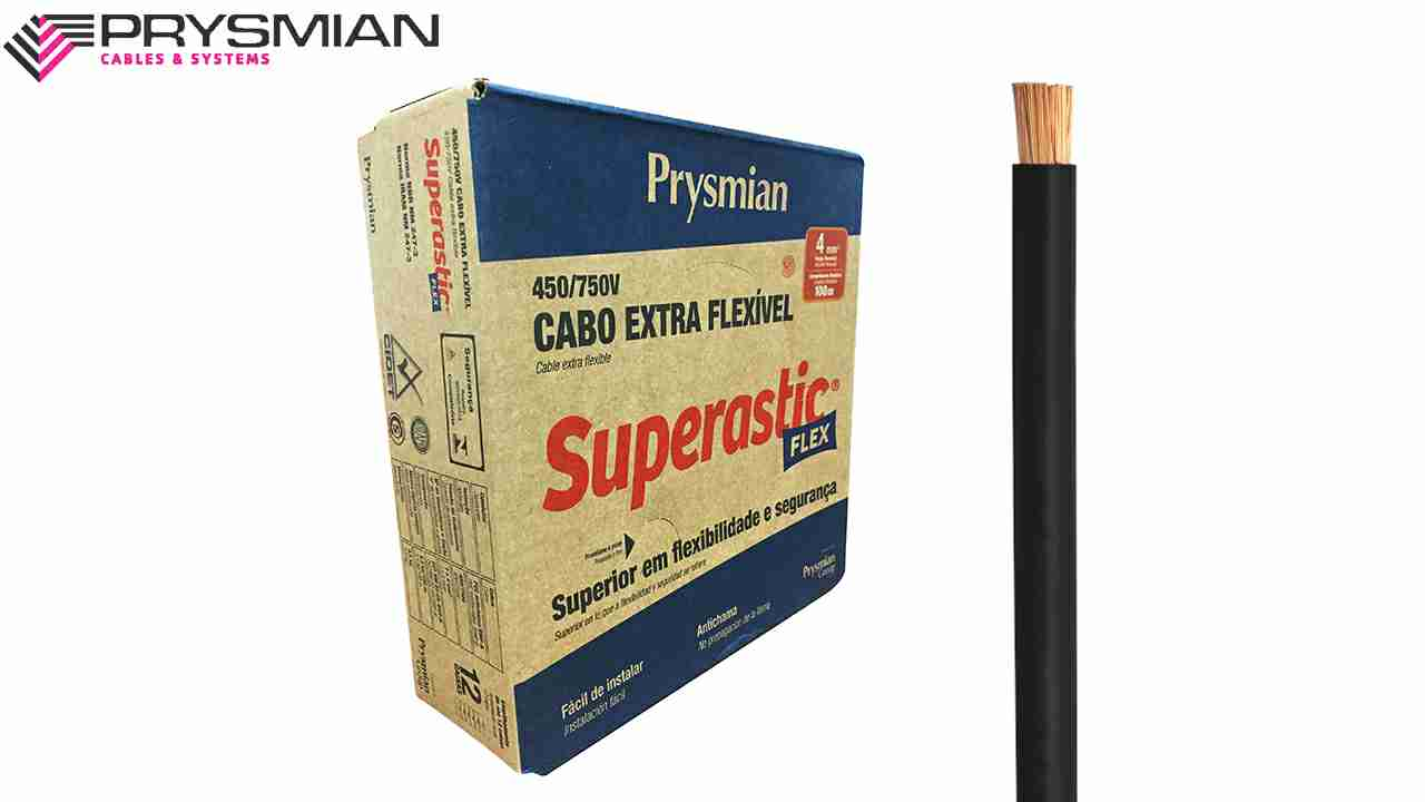CABO SUPERASTIC/PRY. 4.0MM PRETO 750V