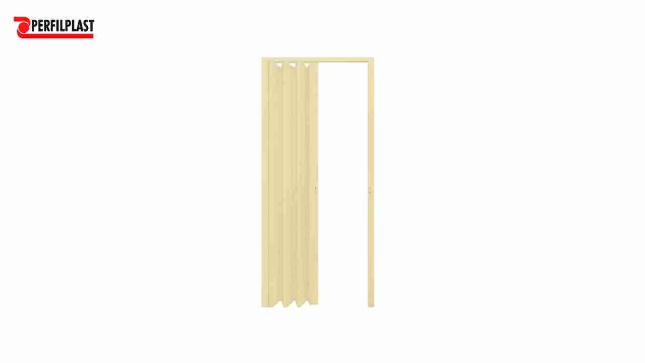 PORTA SANFONADA PVC BEGE PERFILPLAST 84CM X 2.10M