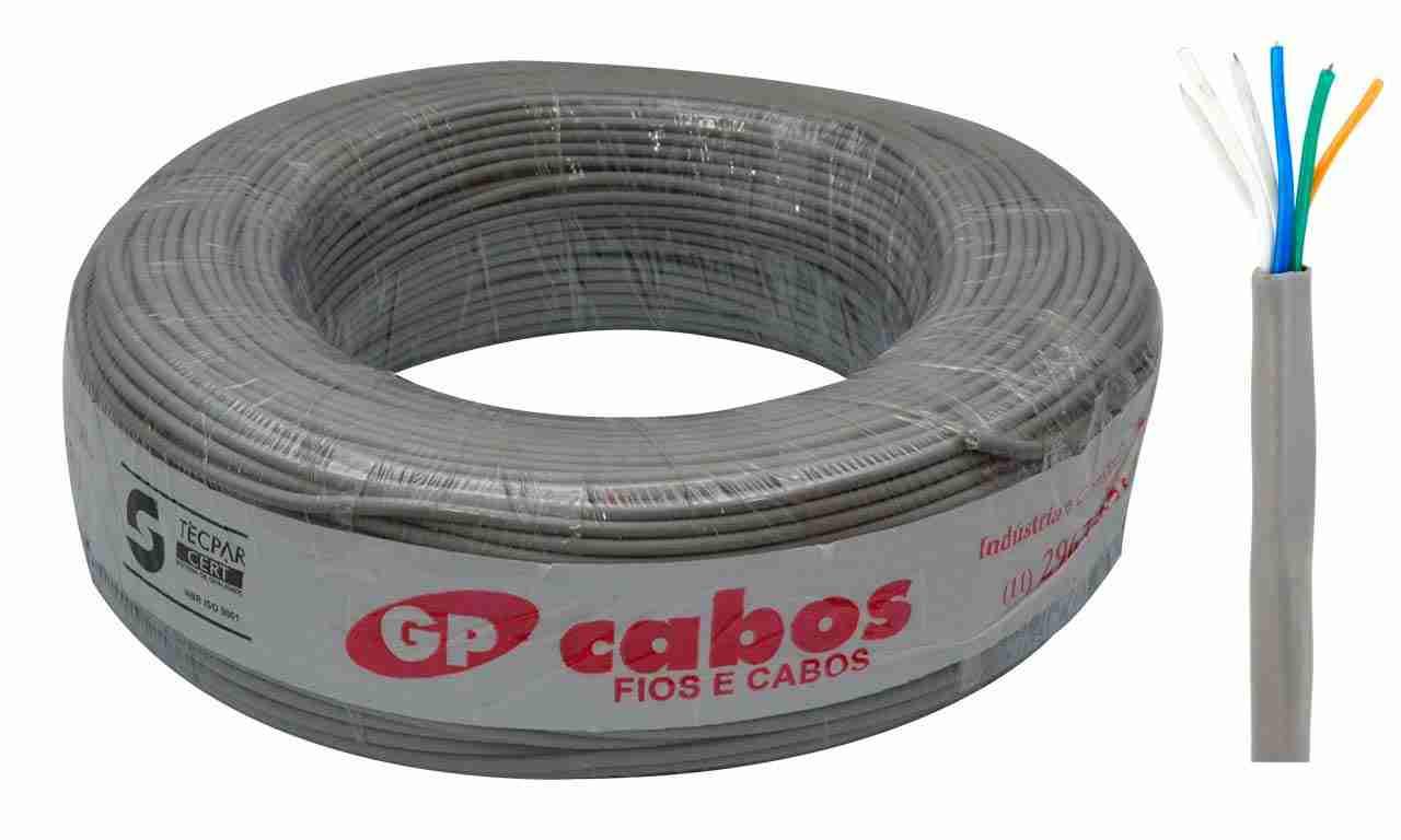CABO PARA TELEFONE CCI GP CABOS 04 PARES CINZA ROLO C/200M