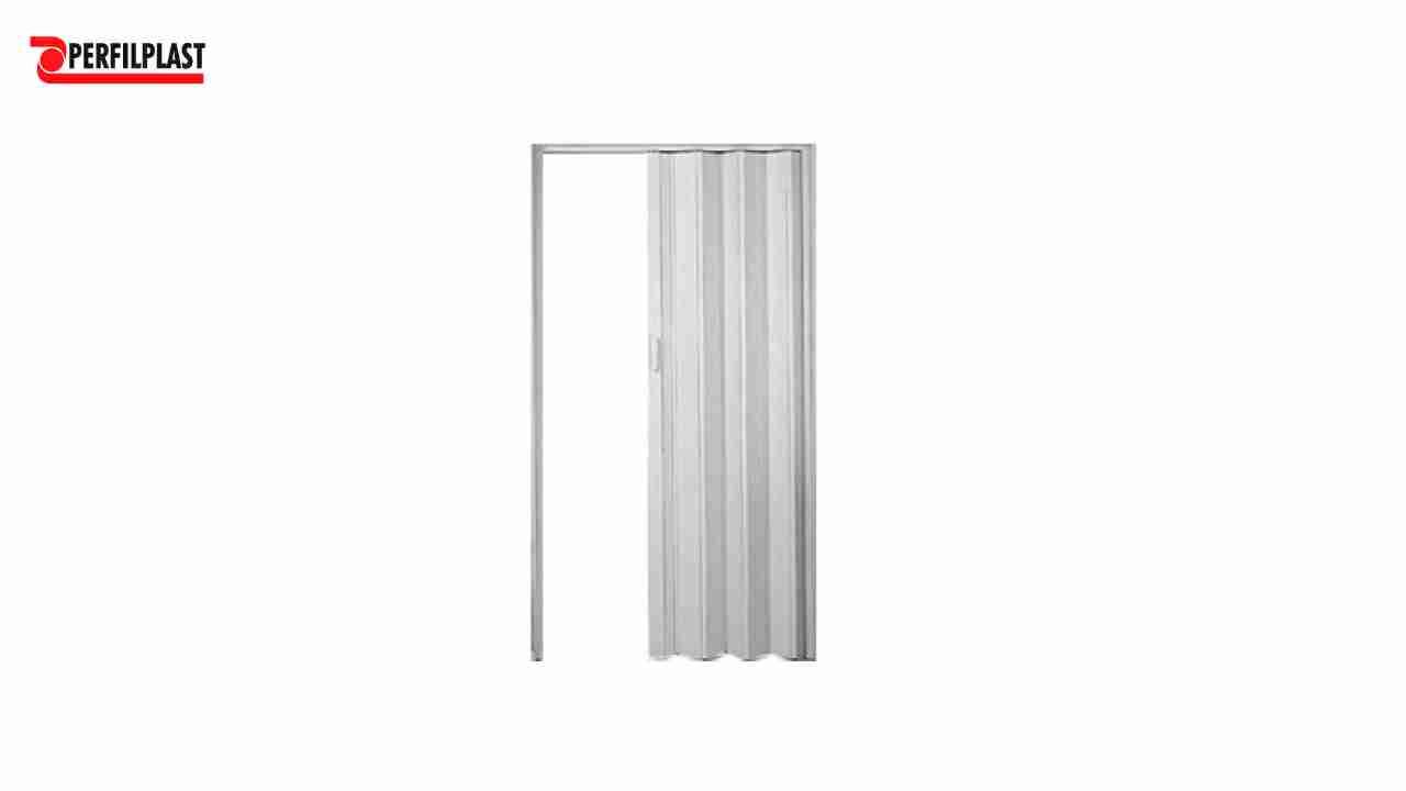 PORTA SANFONADA PVC CINZA PERFILPLAST 96CM X 2.10M