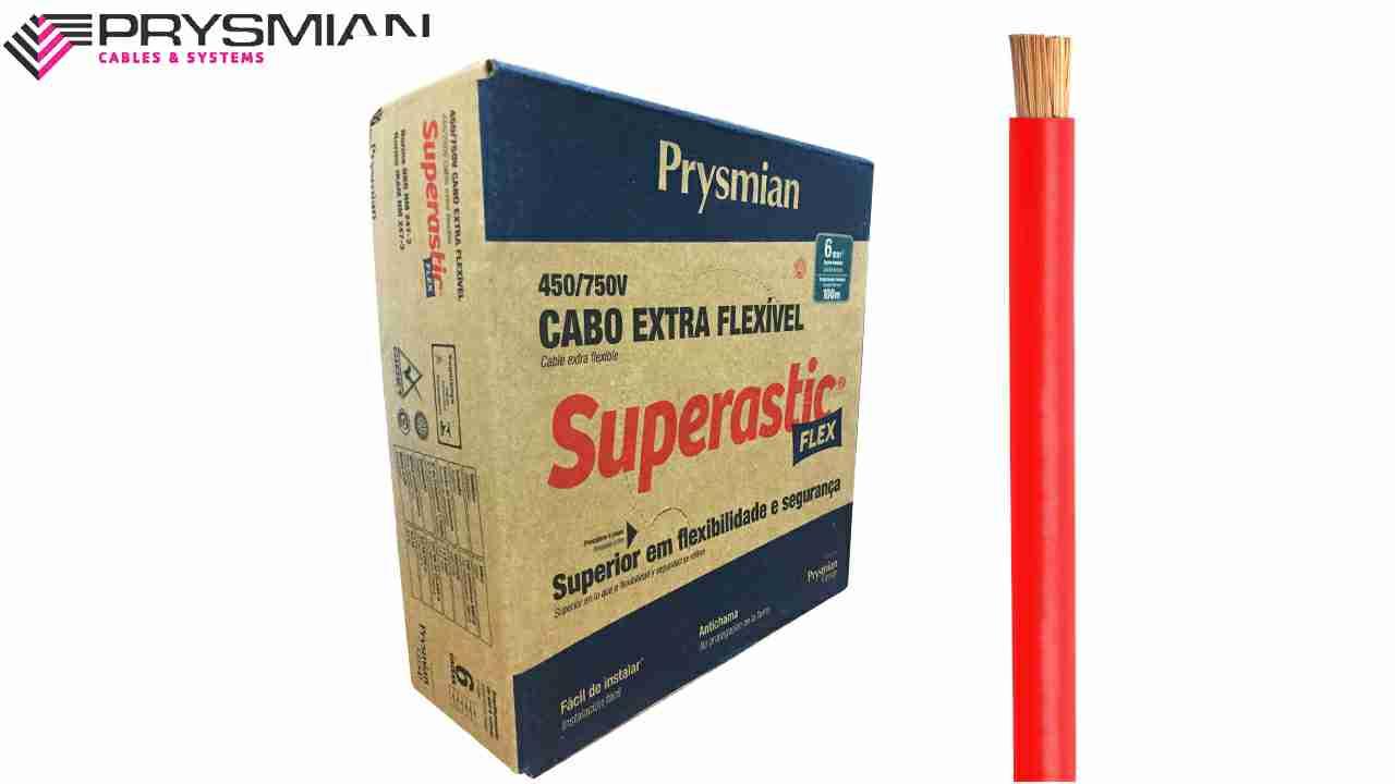 CABO FLEXÍVEL SUPERASTIC 6MM² VERMELHO 450/750V ROLO C/100